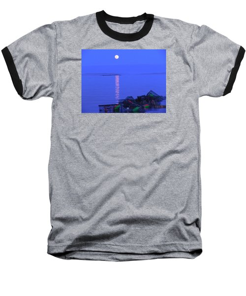 Baseball T-Shirt featuring the photograph Lobstering Moon by Francine Frank