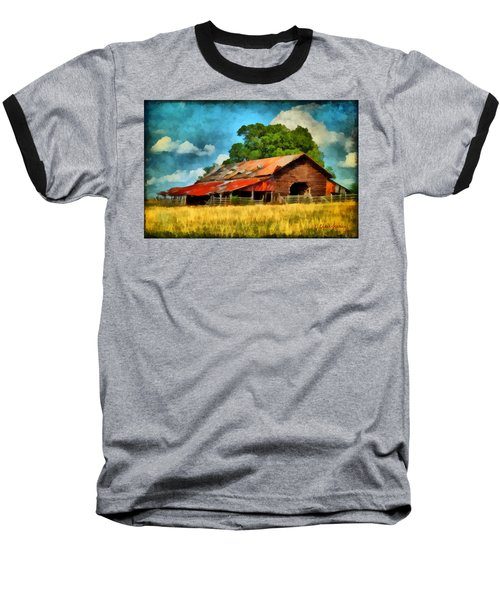 Baseball T-Shirt featuring the painting Long Road Barn by Lynne Jenkins