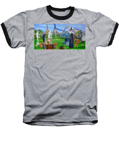 Looking Out My Back Door Baseball T-Shirt by Bryan Bustard