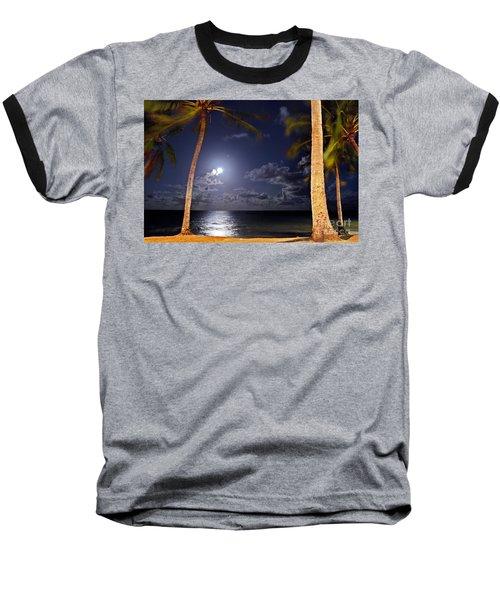 Maceio - Brazil - Ponta Verde Beach Under The Moonlit Baseball T-Shirt