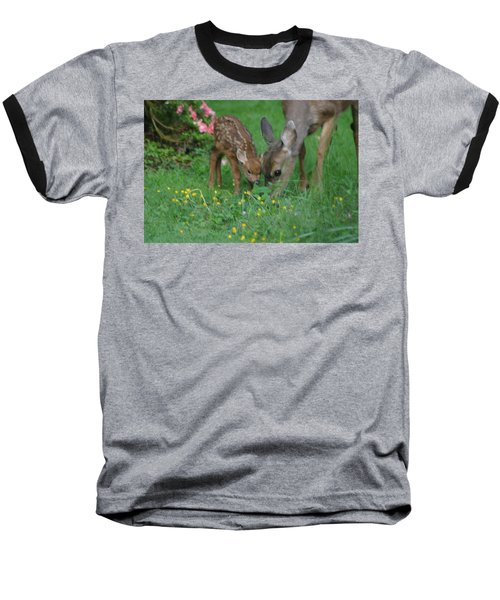 Mama And Spotted Baby Fawn Baseball T-Shirt by Kym Backland
