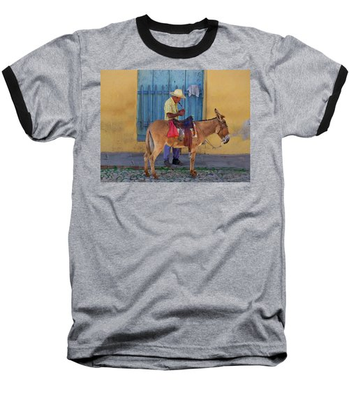Man And A Donkey Baseball T-Shirt by Lynn Bolt
