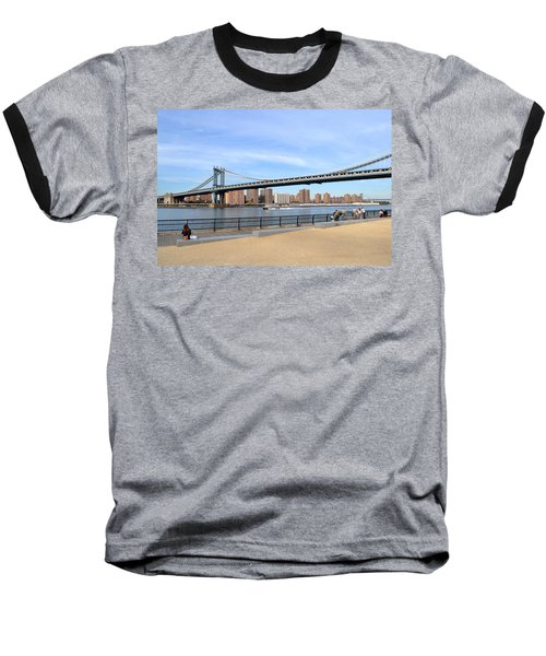 Manhattan Bridge1 Baseball T-Shirt by Zawhaus Photography