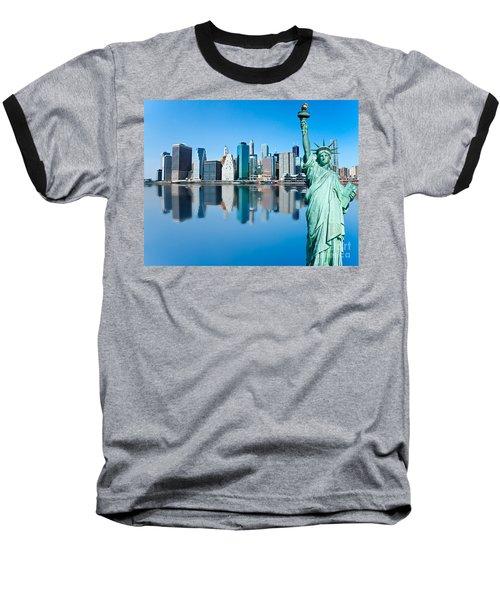 Baseball T-Shirt featuring the photograph Manhattan Liberty by Luciano Mortula