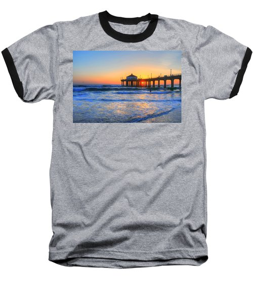 Manhattan Pier Sunset Baseball T-Shirt