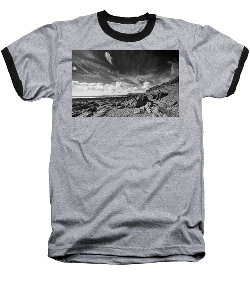 Baseball T-Shirt featuring the photograph Manorbier Rocks by Steve Purnell