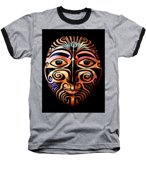 Baseball T-Shirt featuring the sculpture Maori Mask by Michelle Dallocchio