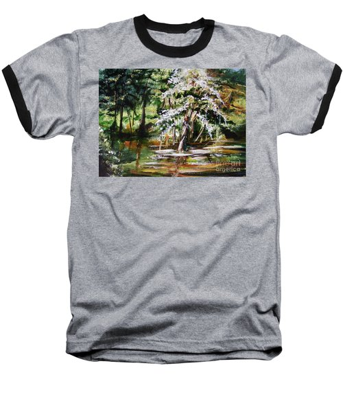 Baseball T-Shirt featuring the painting Marsh Tide by Karen  Ferrand Carroll