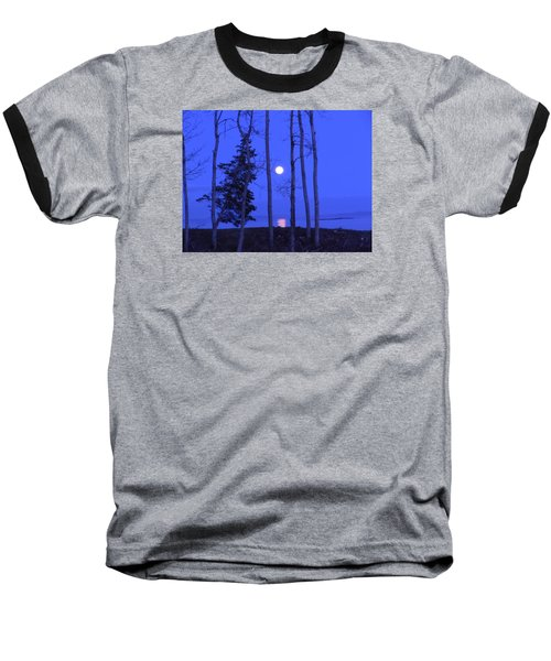 Baseball T-Shirt featuring the photograph May Moon Through Birches by Francine Frank