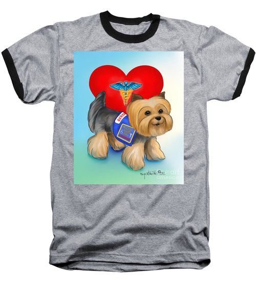 Medical Alert Yorkie Baseball T-Shirt