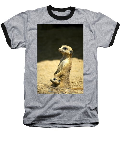 Meerkat Mother And Baby Baseball T-Shirt