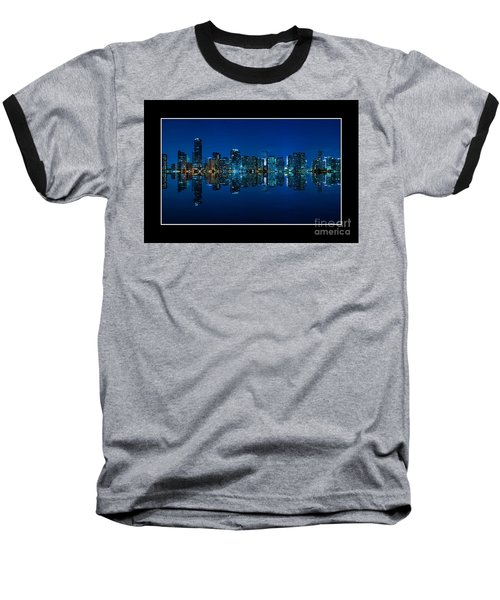Baseball T-Shirt featuring the photograph Miami Skyline Night Panorama by Carsten Reisinger