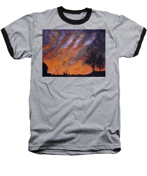 Baseball T-Shirt featuring the painting Midwest Sunset by Stacy C Bottoms