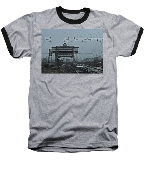 Baseball T-Shirt featuring the photograph Milan Central Station Italy In The Fog by Andy Prendy