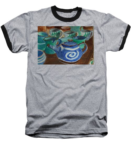 Baseball T-Shirt featuring the painting Miniature Teapots And Cups by Christy Saunders Church
