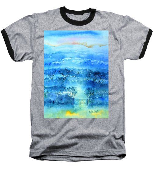 Baseball T-Shirt featuring the painting Misty Morning  Ireland  by Trudi Doyle