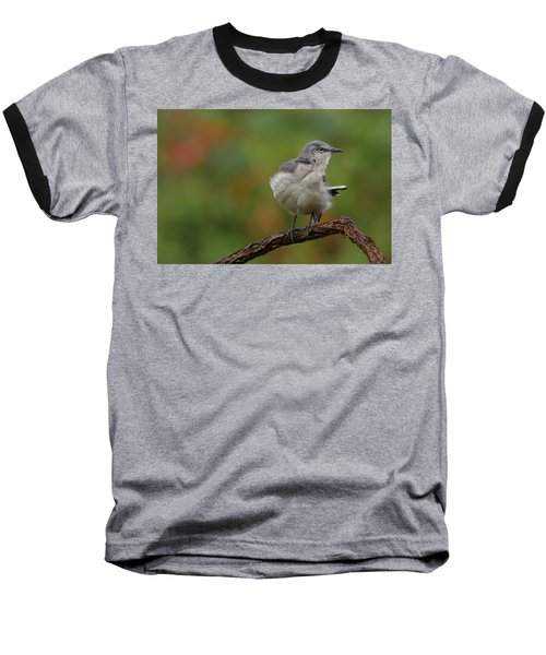 Baseball T-Shirt featuring the photograph Mocking Bird Perched In The Wind by Daniel Reed