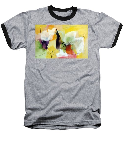 Modern Art With Yellow Black Red And Fanciful Clouds Baseball T-Shirt