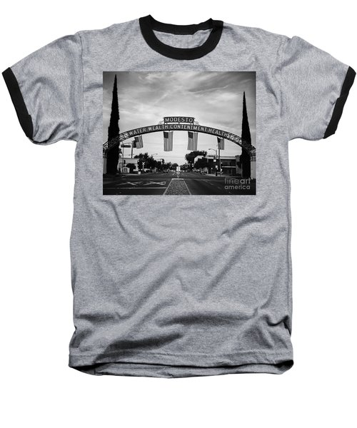 Modesto Arch With Flags Baseball T-Shirt