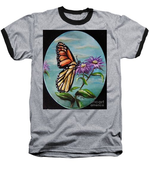 Baseball T-Shirt featuring the painting Monarch And Aster by Karen  Ferrand Carroll