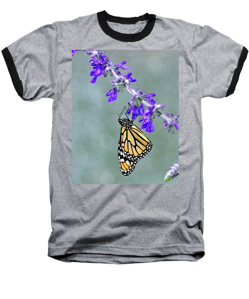 Monarch On Purple Baseball T-Shirt