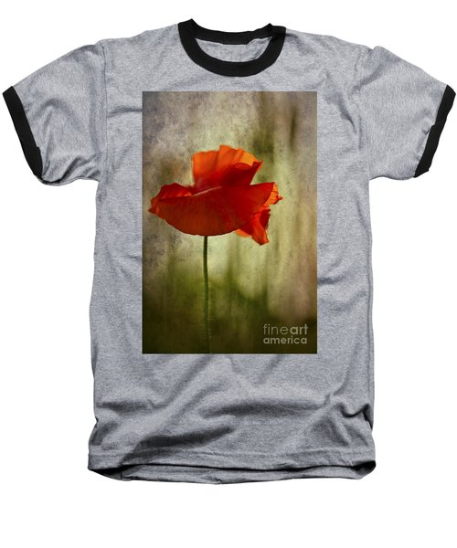 Baseball T-Shirt featuring the photograph Moody Poppy. by Clare Bambers - Bambers Images