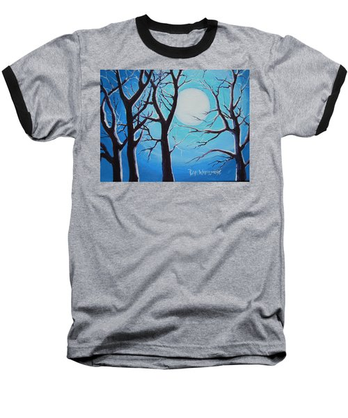 Baseball T-Shirt featuring the painting Moon Light by Dan Whittemore