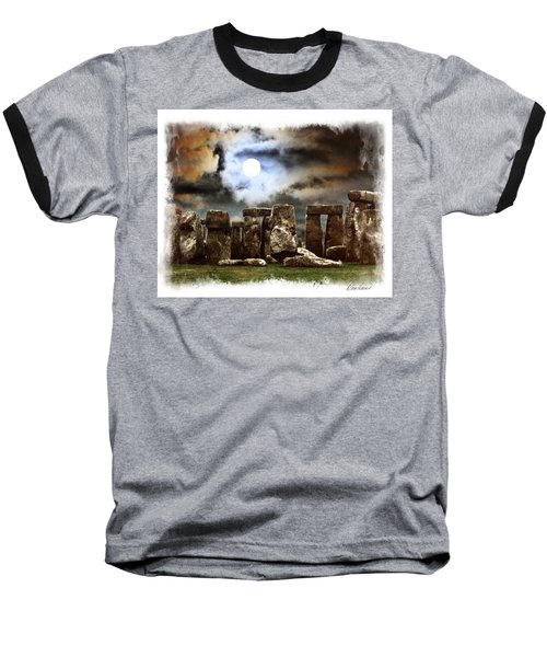 Moon Over Stonehenge Baseball T-Shirt