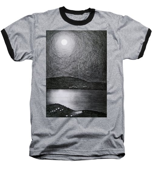 Moon Reflection On The Sea Baseball T-Shirt