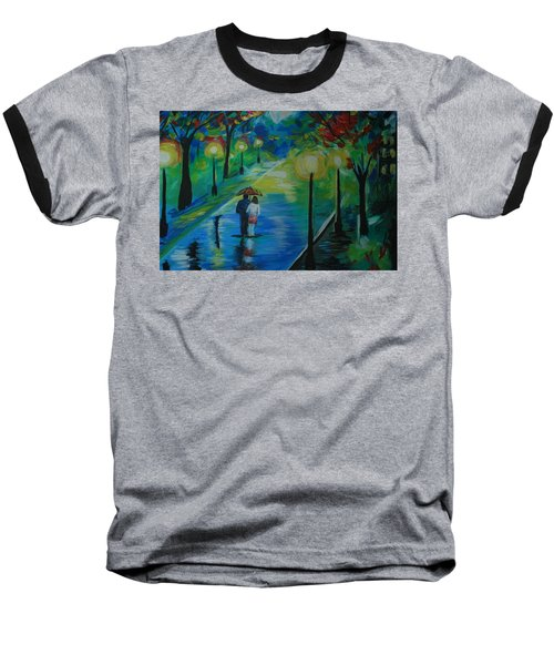 Baseball T-Shirt featuring the painting Moonlight Stroll Series 1 by Leslie Allen