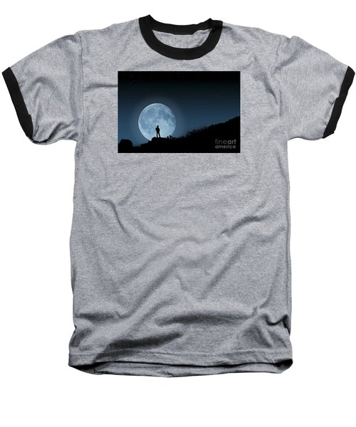 Baseball T-Shirt featuring the photograph Moonlit Solitude by Steve Purnell