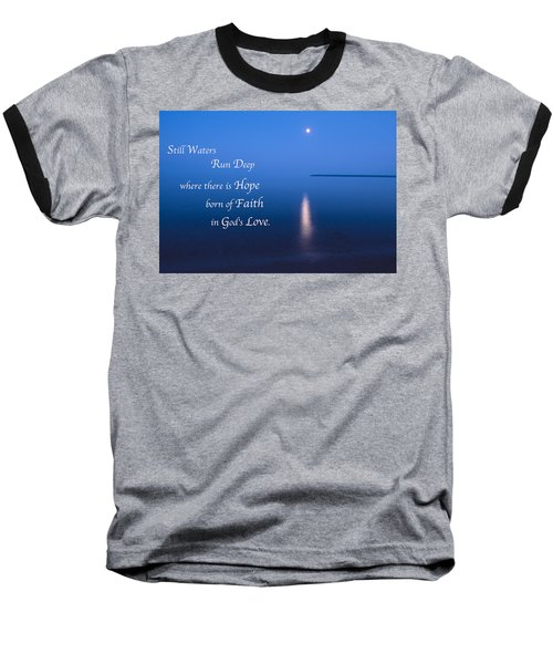 Moonrise On Lake Superior With Quote Baseball T-Shirt