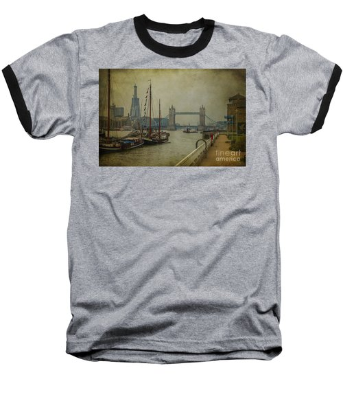 Baseball T-Shirt featuring the photograph Moored Thames Barges. by Clare Bambers