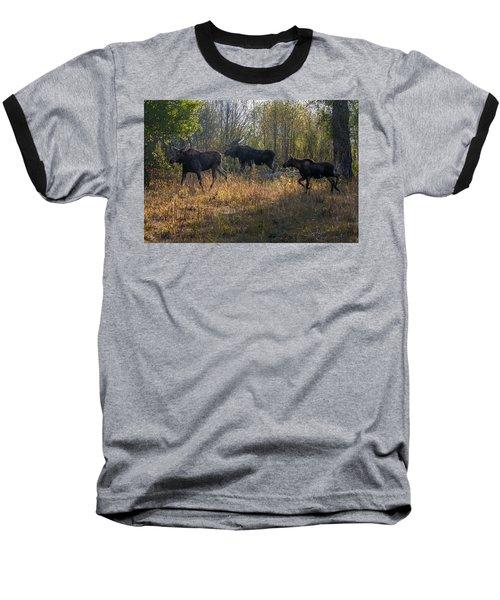 Moose Family Baseball T-Shirt by Ronald Lutz