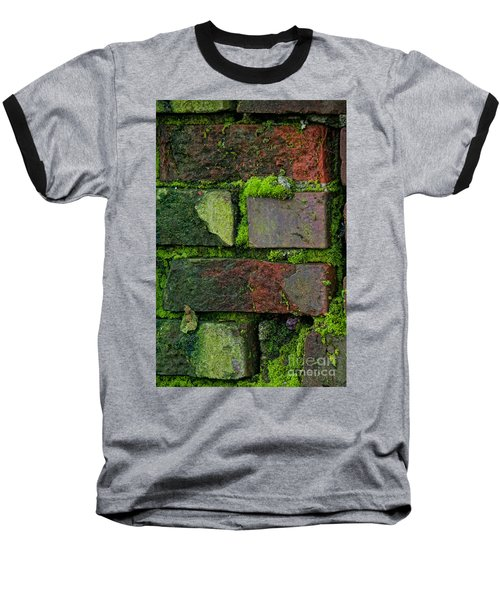 Baseball T-Shirt featuring the digital art Mossy Brick Wall by Carol Ailles
