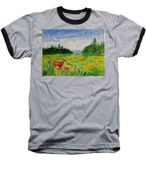 Baseball T-Shirt featuring the painting Mother Deer And Kids by Sonali Gangane