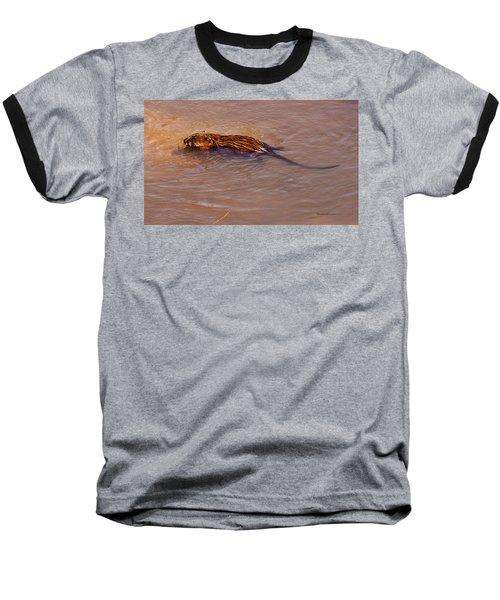 Muskrat Swiming Baseball T-Shirt