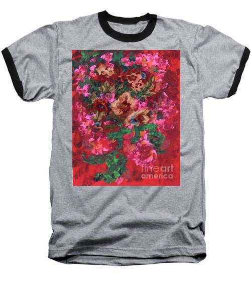 Baseball T-Shirt featuring the painting My Sister's Garden I by Alys Caviness-Gober