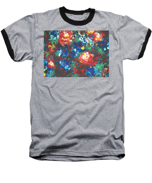 Baseball T-Shirt featuring the painting My Sister's Garden II by Alys Caviness-Gober
