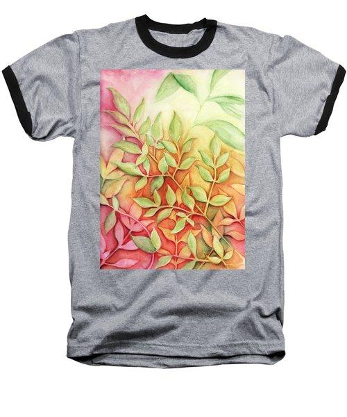 Nandina Leaves Baseball T-Shirt by Carla Parris