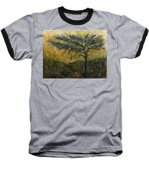 Nature Landscape Green Thorns Acacia Tree Flowers Sunset In Yellow Clouds Sky  Baseball T-Shirt