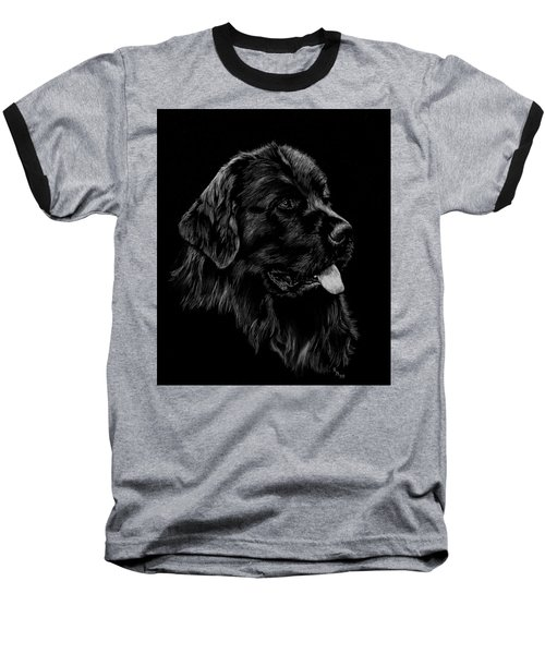 Baseball T-Shirt featuring the drawing Newfoundland by Rachel Hames