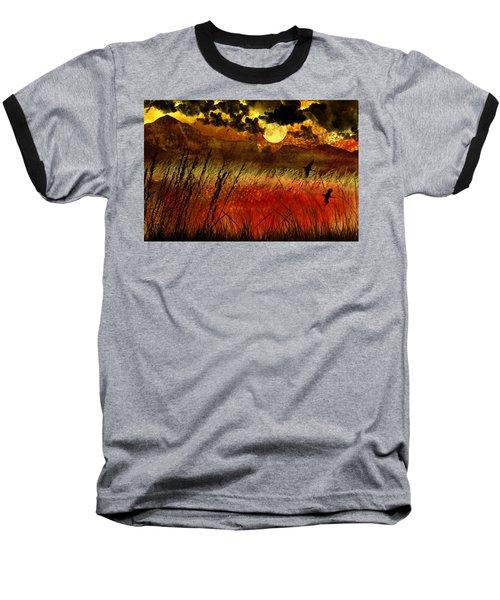 Night Falls Over The Land Baseball T-Shirt by Ellen Heaverlo