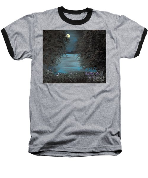 Baseball T-Shirt featuring the painting Night In The Bayou by Alys Caviness-Gober