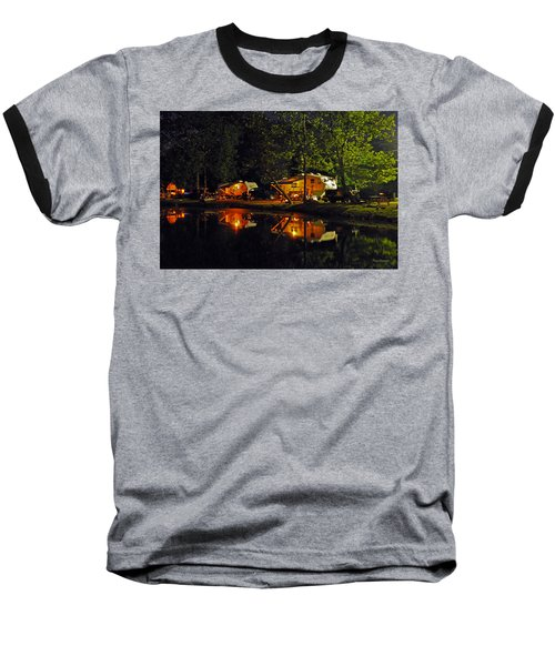 Nighttime In The Campground Baseball T-Shirt by Kay Lovingood