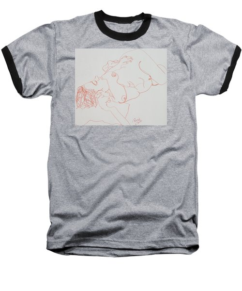 Nude Resting In Red Baseball T-Shirt by Rand Swift