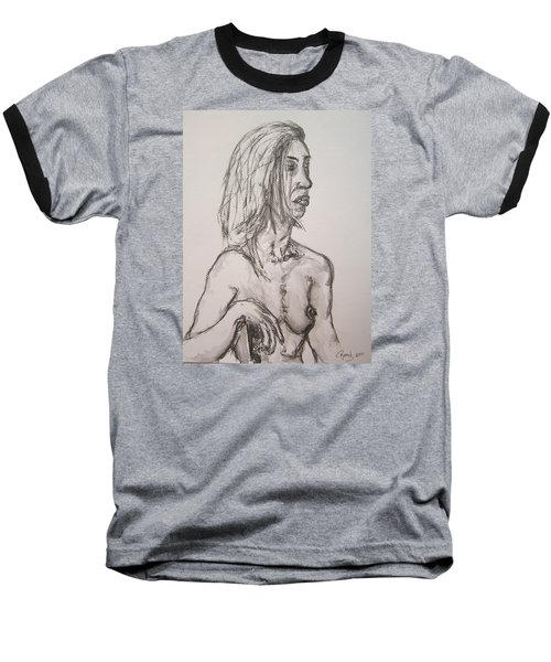 Nude In Washed Graphite Baseball T-Shirt by Rand Swift