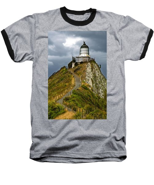 Nugget Point Light House And Dark Clouds In The Sky Baseball T-Shirt