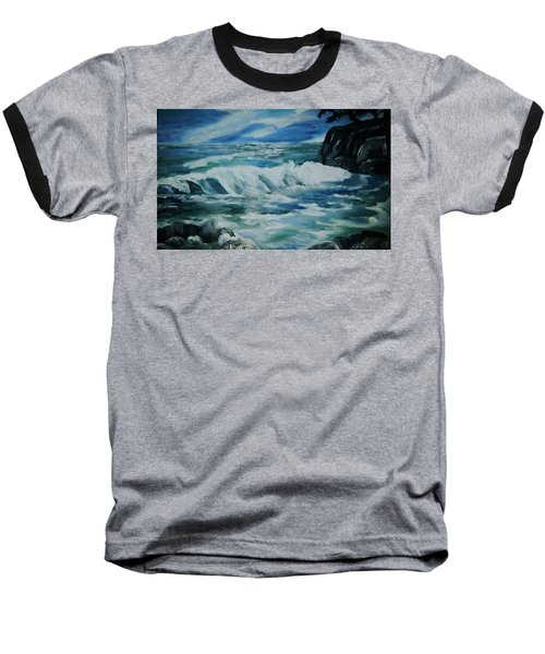 Baseball T-Shirt featuring the painting Ocean Waves by Christy Saunders Church