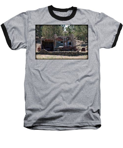 Old Filling Station Baseball T-Shirt by Athena Mckinzie